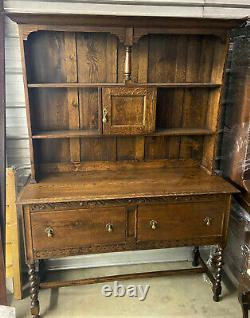 Antique English Welsh Tiger Oak Dresser China Cupboard Farmhouse Hutch WE SHIP