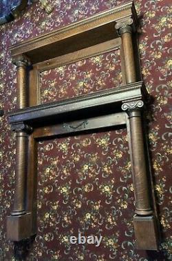 Antique Fireplace DOUBLE Mantle Tiger Oak 4 Column Egg & Pearl Detail Victorian