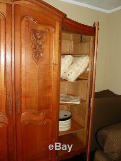 Antique French Armoire 4-door Wardrobe Tiger Oak