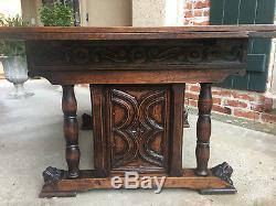 Antique French Carved Dark Tiger Oak Draw Leaf DINING TABLE 8 ft. Renaissance
