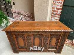 Antique French Carved Tiger Oak Altar TABLE Hall Foyer GOTHIC Chapel Church