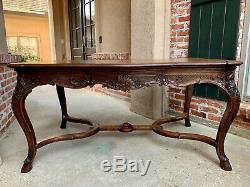 Antique French Carved Tiger Oak Dining TABLE Library Louis XV Ram Hoof DESK