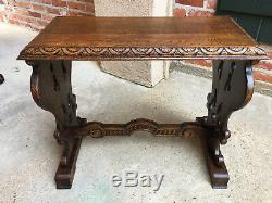 Antique French Carved Tiger Oak End Side Coffee Tea Table Louis XV Baroque