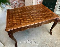 Antique French Carved Tiger Oak Parquet Dining TABLE Draw Leaf Ram Hoof 8 FT