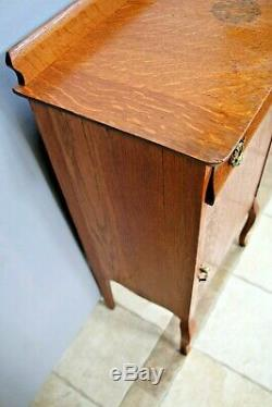 Antique French Country Cabinet Tiger Oak Sideboard Buffet Server pantry Table