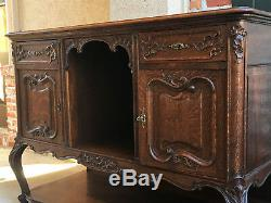 Antique French Country Carved Tiger Oak Sideboard Buffet Louis XV Cabinet Table