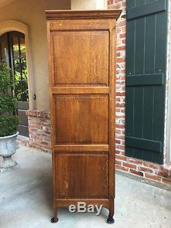 Antique French Country Tiger Oak Armoire Wardrobe Bonnetiere Storage Cabinet