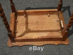 Antique French Country Tiger Oak Barley Twist Side Table Entry Table