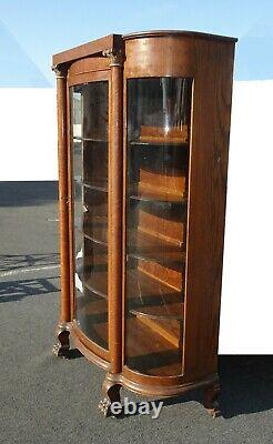 Antique French Country Tiger Oak Curio Display China Cabinet Claw Feet