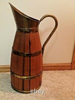 Antique French Primitive Tiger Oak Pitcher Brass Wine Jug 25 GOOD Patina