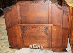 Antique French Tiger Oak Art Deco Full or Queen Size Double Panel Bed With Rails