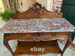 Antique French Tiger Oak Carved Sideboard Buffet Louis XV MARBLE Cabinet Table