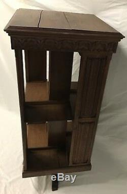 Antique French Tiger Oak Rotating Library Bookcase C. Late 19th centuryRare