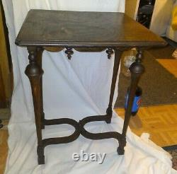 Antique French Tiger Oak nob legs Table Entry Table mid century Vintage