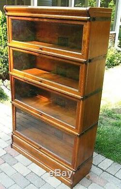 Antique GLOBE WERNICKE QUARTER SAWN TIGER OAK BARRISTER STACKING BOOKCASE