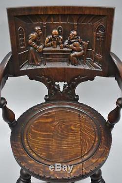 Antique German Carved Tiger Oak Drunken Monks Tavern Pub Arm Chairs a Pair