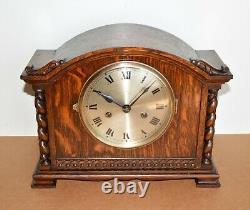 Antique German Gustav Becker Barley Twist Jacobean Tiger Oak Mantel Clock