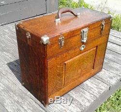 Antique Gerstner Machinist Tool Chest Tiger Oak 1930 Era Original Finish