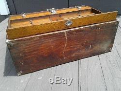 Antique Gerstner Tiger Oak Machinist Tool Box Chest w Key 11 Drawers Model 052