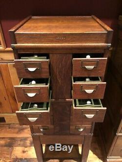 Antique Globe Library Card Catalog Cabinet in Tiger Oak