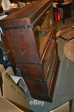 Antique Globe Wernicke Barrister Arts & Crafts Mission Tiger Oak Book show case