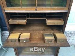 Antique Globe Wernicke Stack Lawyers Bookcase/desk All Original Finish Tiger Oak