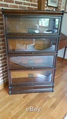 Antique Globe Wernicke Tiger Oak 4 Stack Barrister Bookcase 1915s Era