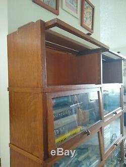 Antique Globe Wernicke Tiger Oak Double 4 Stack Barrister Bookcase 1915s Era