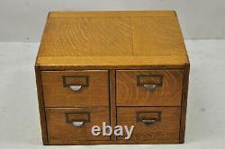 Antique Golden Mission Tiger Oak Wood 4 Drawer File Card Catalog Cabinet