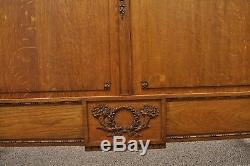 Antique Golden Tiger Oak Victorian Bed Frame Full Size High Back French Country