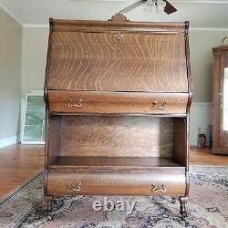 Antique Hale Tiger Oak Herkimer Desk Secretary Open Bookcase Lions Paws