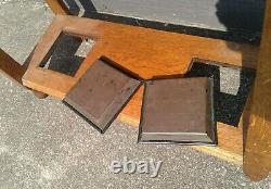 Antique Hall Tree Tiger Oak Beveled Mirror Glove Box Umbrella Stand Coat Hooks