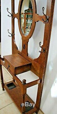 Antique Hall Tree Tiger Oak Oval Bevel Mirror Glove box umbrella Stand coat rack