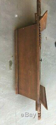 Antique Hanging Corner Wall Cabinet Cupboard Oak Wood China Cabinet Ornate