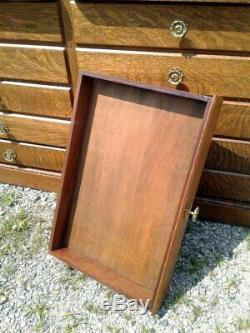 Antique Hardware Store Wall Cabinet 28 Drawers Tiger Oak 1910 Era