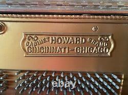 Antique Howard Upright Cabinet Grand Piano Tiger Oak Wood Circa 1900
