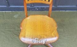 Antique JOHNSON CHAIR CO Chicago Tiger Oak Swivel Office Desk Doctor's Chair