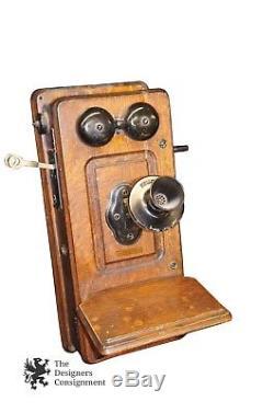 Antique Kellogg Crank Wall Mount Telephone 1900s Quartersawn Tiger Oak Phone
