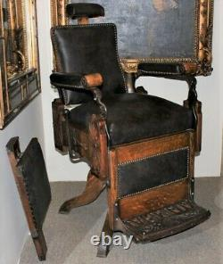Antique Kochs COLUMBIA Carved Tiger Oak Barber Shop Chair on Cabriole Legs