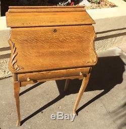 Antique Lammert Tiger Oak Slant Front Writing Desk / Secretary / Lovely