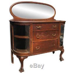Antique Larkin Curved Glass Oval Mirrored Tiger Oak Server Buffet Sideboard