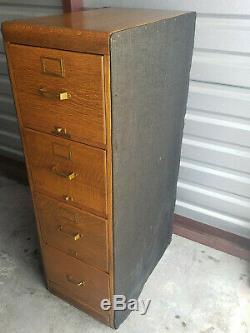 Antique Library Bureau Sole Maker 4 Drawer Quarter Sawn Tiger Oak File Cabinet