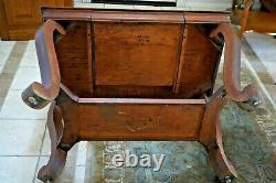 Antique Library Table Tiger Oak writing desk bookshelf dove tail drawer