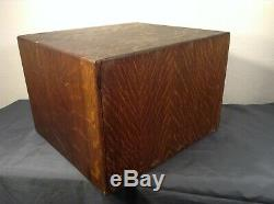 Antique Macey 4 Drawer Index Card Lawyer Library File Tiger Oak Wood Cabinet 4x6