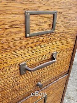 Antique Macey 4 Drawer Oak File Cabinet Arts & Crafts Mission Tiger Furniture
