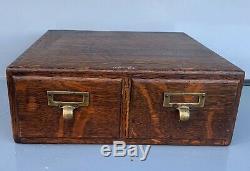Antique Macey Tiger Oak Library Index Card Catalog 2 Drawer File Cabinet