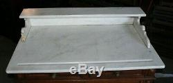 Antique Marble Top Washstand Tiger Oak Base with Three Drawers