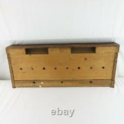Antique Mission Craftsman Tiger Oak Large 39 Coat Rack Brass Hooks 1900
