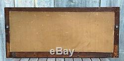 Antique Mission Craftsman Tiger Oak Large 39 Mirror with 6 Coat Rack Hooks 1900