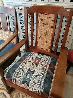 Antique Mission Craftsman Tiger Oak Rocker Rocking & Chair Quarter Sawn